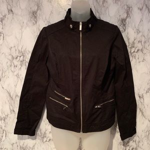 Guess Black Moto Jacket Exposed Zipper Coat